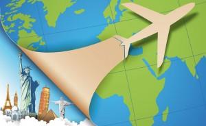 Weltkarte mit Flieger